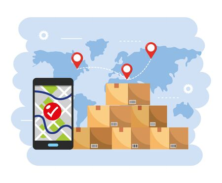 boxes packages with smartphone gps map location Çizim