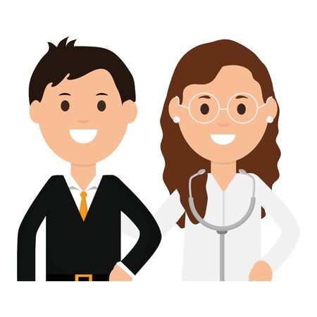 professional female doctor with businessman