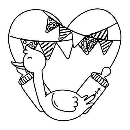 stork with heart in black and white