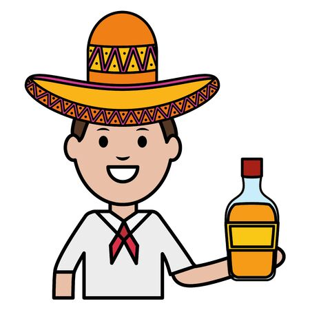 mexican man with tequila bottle character vector illustration design