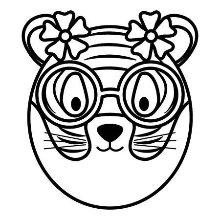 cute female tiger childish character Stock Illustratie