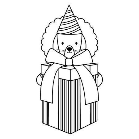 cute lion with giftbox and hat in party celebration