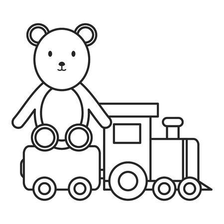 little bear teddy with little train
