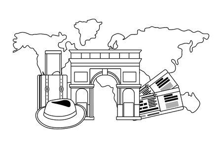 Arch of Triumph landmark design, Travel trip vacation tourism journey and tourist theme Vector illustration