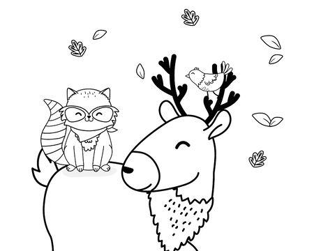 cute littles animals cartoon vector illustration graphic design