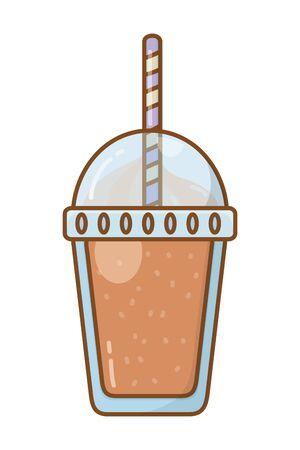 Frozen drink cup with straw refreshing beverage plastic isolated vector illustration graphic design Ilustracja