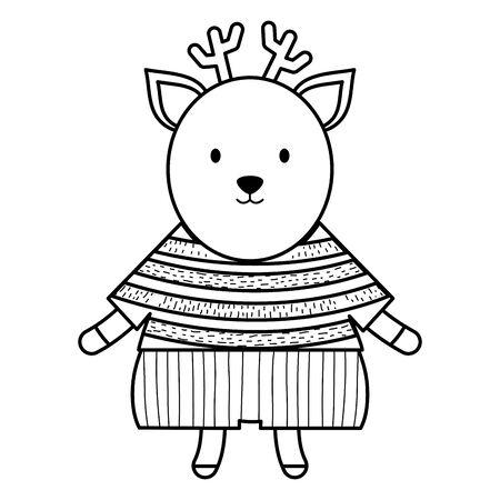 cute reindeer childish character vector illustration design