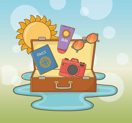 suitcase bag with travel vacations items vector illustration design Çizim
