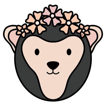 cute female monkey childish character vector illustration design Stock Illustratie