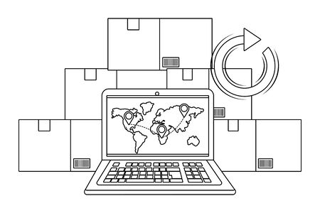 laptop with boxes and return arrow showing map and location pointers vector illustration graphic design