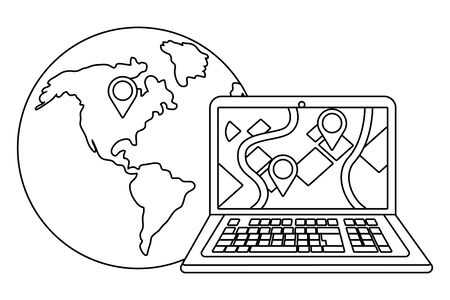 laptop with globe in black and white