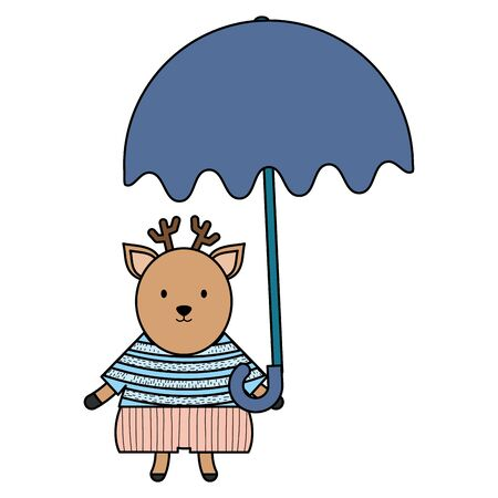 cute reindeer with umbrella childish character