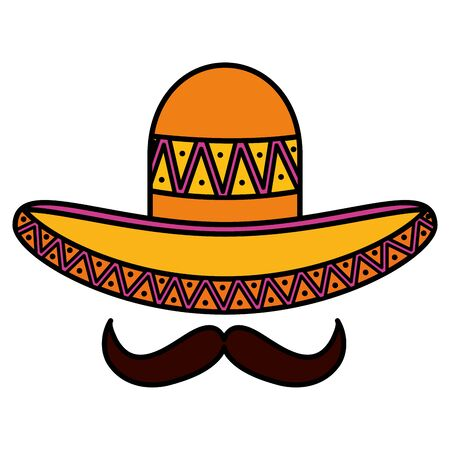 mexican hat with mustache traditional icon