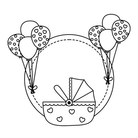 round frame with cradle in black and white Illustration