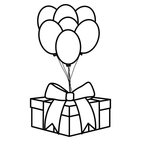 gift box with balloons helium floating