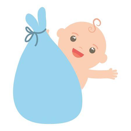 cute little baby boy in bag hanging