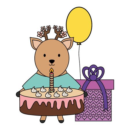 cute reindeer with sweet cake and gift in party celebration