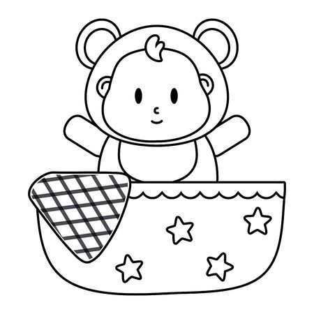 bear costume in a cradle in black and white