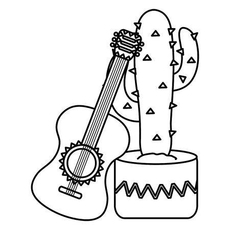 mexican cactu plant with guitar