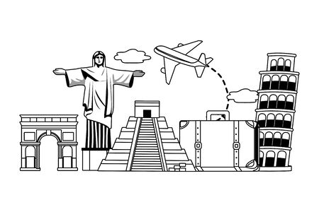 Landmarks and travel design Ilustrace