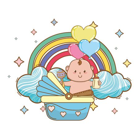 baby shower cartoon card Foto de archivo - 132103053