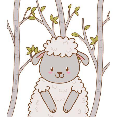 cute sheep woodland character vector illustration design Foto de archivo - 129372590