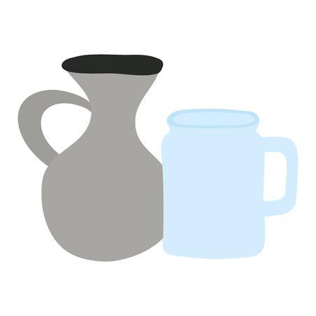 jars pots isolated icons Ilustrace