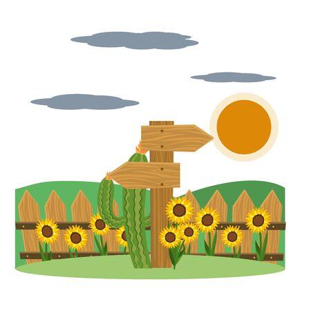 wooden sign frame outdoor farm scene cartoon vector illustration graphic design Çizim