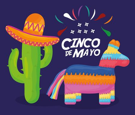 cinco de mayo celebration with pinata and mexican icons 일러스트