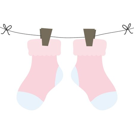 baby socks clothes hanging in wire
