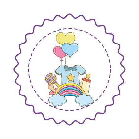 Baby shower round label stamp with cartoons Banque d'images - 129578849