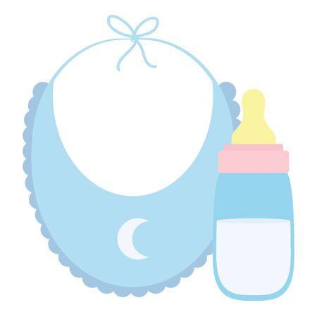 baby bib with milk bottle icons Ilustração