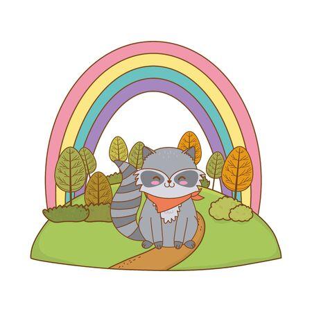 cute raccoon in the field woodland character Foto de archivo - 129538098