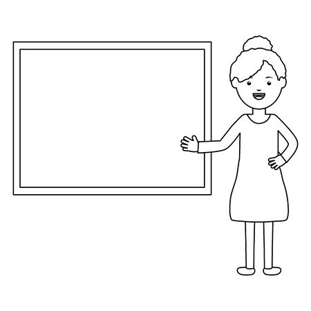 young female teacher with chalkboard vector illustration design