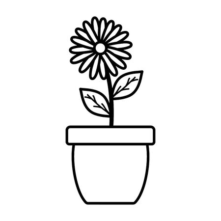 cute sunflower and leafs plant in ceramic pot vector illustration design