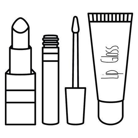set of make up accessories drawing Illusztráció