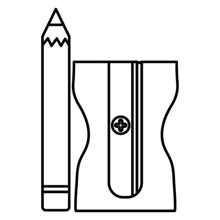 school pencil supply with sharpener vector illustration design