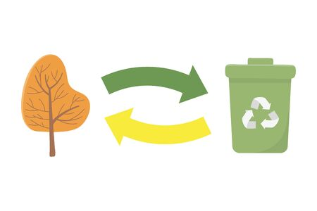 Recycle trash and tree design Illustration