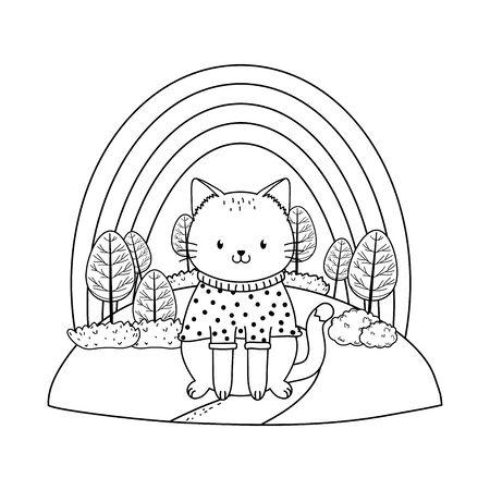 cute cat in the field woodland character Foto de archivo - 129538764