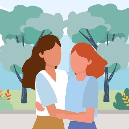causal people women hugging outdoor scene cartoon vector illustration graphic design Иллюстрация