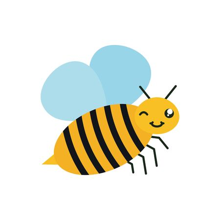cute bee insect flying kawaii character Ilustracja