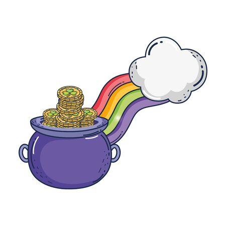 treasure cauldron with rainbow saint patrick day Stock Illustratie