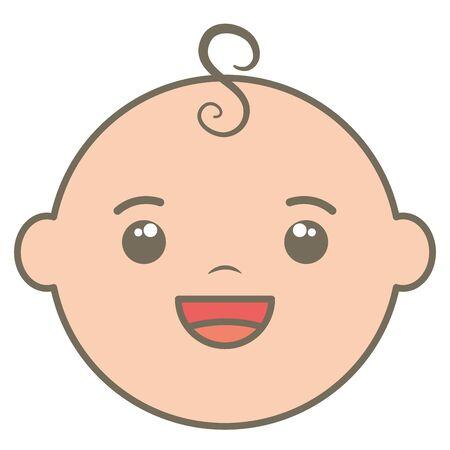 cute little baby boy head character Illustration