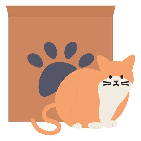 cute cat mascot with carton box and footprint