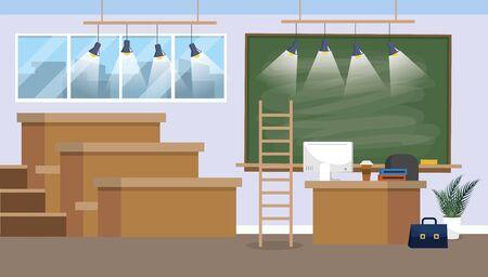 university classroom preparation with blackboard and lights 일러스트