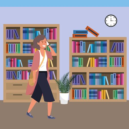 Millennial student using smartphone on library Ilustracja