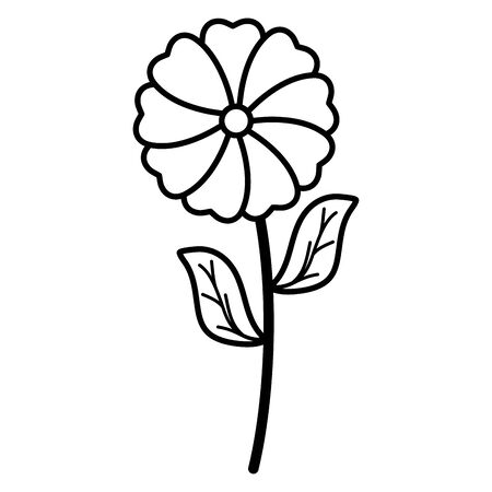 cute flower and leafs garden plant decorative icon 向量圖像