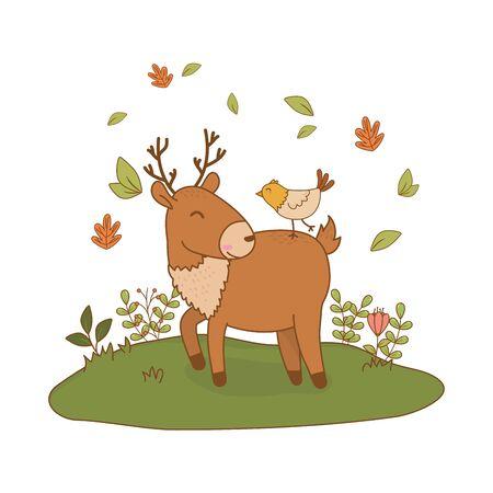 cute reindeer with bird in the field woodland characters vector illustration design Foto de archivo - 129433365