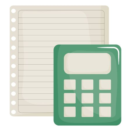 sheet of notebook paper with calculator Banco de Imagens - 132102425