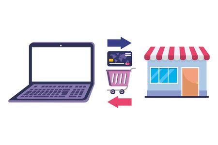 Shopping online icon design vector illustration